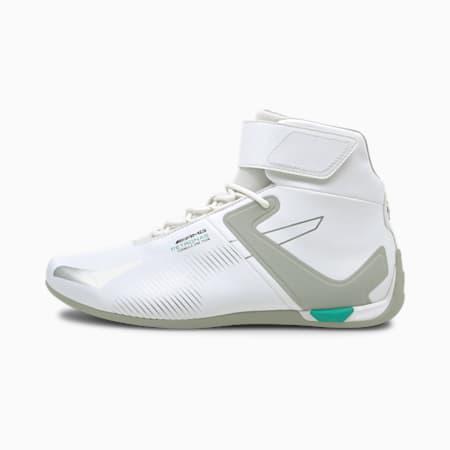 Zapatos deportivos de automovilismo de caña media Mercedes F1 A3ROCAT, Puma White-Mercedes Team Silver-Spectra Green, pequeño