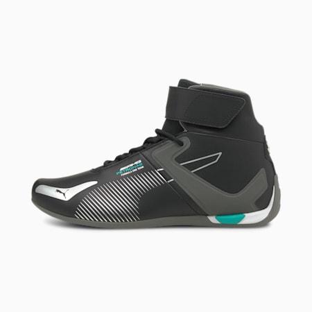 Zapatos deportivos de automovilismo de caña media Mercedes F1 A3ROCAT, Puma Black-Puma Silver-Smoked Pearl, pequeño