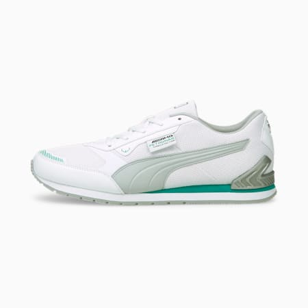 Mercedes F1 Track Racer Unisex Shoes, Puma White-Mercedes Team Silver-Spectra Green, small-IND