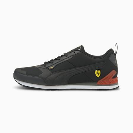 Ferrari Track Racer Unisex Shoes, Puma Black-Puma Black-Saffron, small-IND
