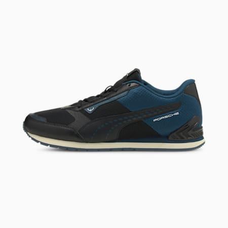 Porsche Legacy Track Racer Unisex Shoes, Puma Black-Intense Blue, small-IND