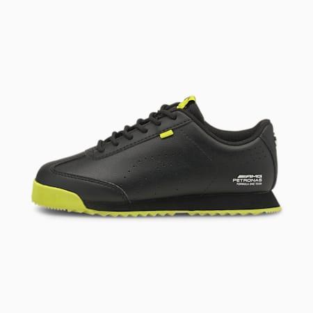 Zapatos de automovilismo Mercedes F1 Roma Via para niños pequeños, Puma Black-Nrgy Yellow, pequeño