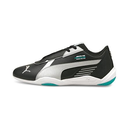 Zapatos de automovilismo Mercedes F1 R-Cat Machina JR, Puma Black-Puma Silver-Spectra Green, pequeño