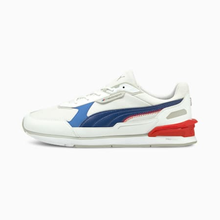 Zapatos deportivos de automovilismo BMW M Motorsport Low Racer, Puma White-Estate Blue-Fiery Red, pequeño