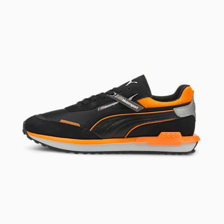 BMW M Motorsport City Rider Unisex Shoes, Puma Black-Orange Glow, small-IND