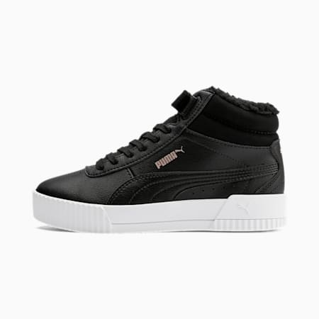 Carina Fur Mid Youth Trainers, Puma Black-Rose Gold-PW, small
