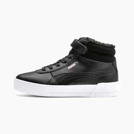 Carina Fur Mid Kinder Sneaker, Puma Black-Rose Gold-PW, small