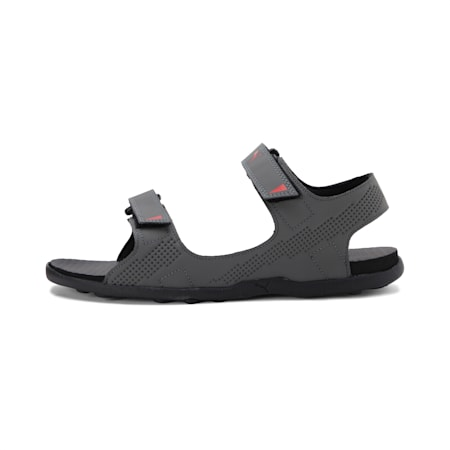 Shire IDP Men's sandals, Dark Shadow-Black-HR Red, small-IND