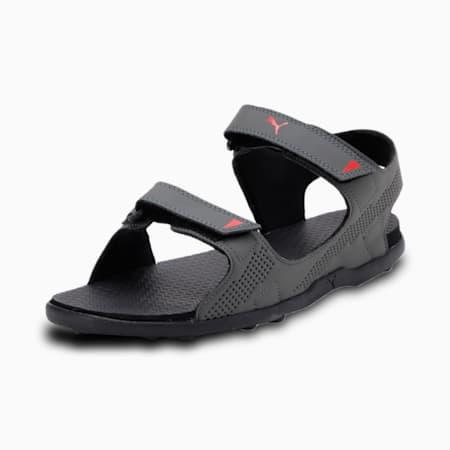 Shire Men's Sandals, Dark Shadow-Puma Black-High Risk Red, small-IND