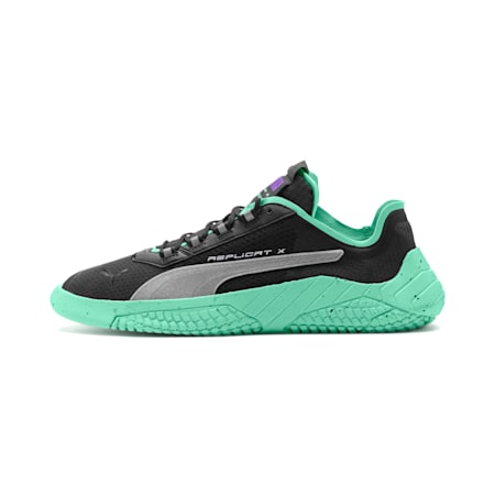 Replicat-X Fluro Trainers, Black-Green Glimmer-Silver, small