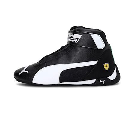 Scuderia Ferrari  Unisex R-cat Mid Unisex Shoes, Puma Black-White-Puma Black, small-IND