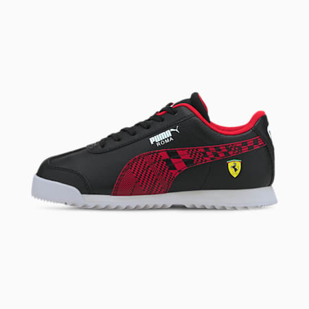 ZapatosScuderia Ferrari Roma para niños, Puma Black-Rosso Corsa, pequeño