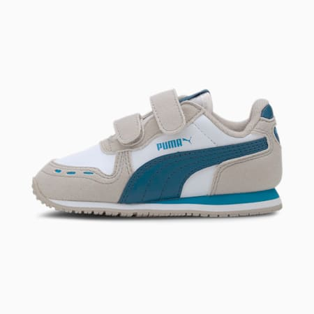 Cabana Racer SL Baby Trainers, Puma White-Dresden Blue, small