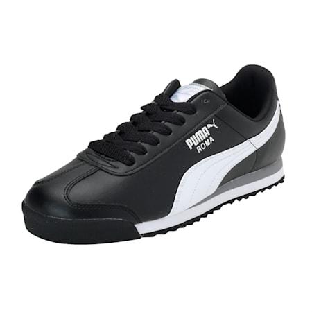 Roma Basic Men's Sneakers, black-white-puma silver, small-IND