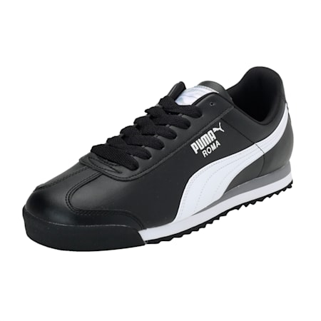 Roma Basic Men's Sneakers, black-white-puma silver, small-IND