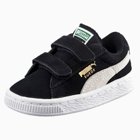 Suede 2 Straps Kids' Trainers, black-white, small-SEA