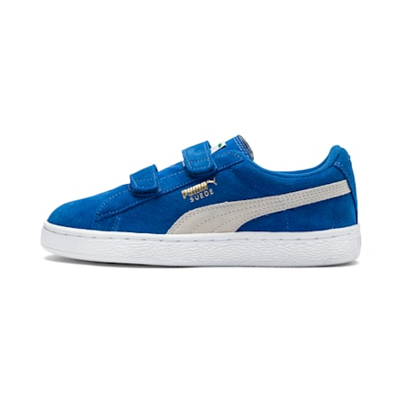 Suede 2 Straps Kids' Trainers, snorkel blue-white, small-SEA
