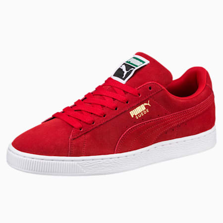 Classic+ Suede Sneaker, high risk red-white, small
