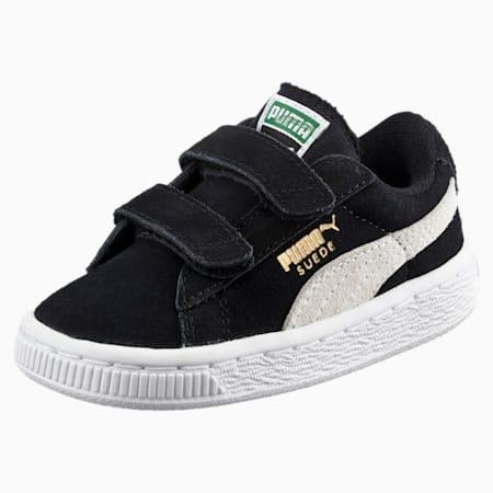 Suede 2 Straps Little Kids' Sneakers, Puma Black-Puma White, small