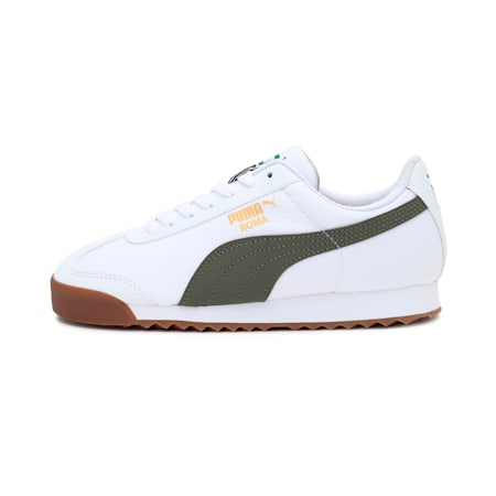 Roma Basic Summer Jr Sneakers, Puma White-Deep Lichen Green, small-IND