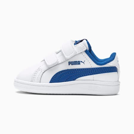 PUMA unisex-kids Smash Leather Jr Sneaker White-Strong Blue-Peacoat-Gray Violet 5.5 M US Big Kid