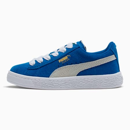 Suede Little Kids' Shoes, Snorkel Blue-Puma White, small