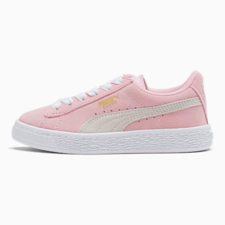 Suede Little Kids' Shoes, Pink Lady- White-P.T. Gold, small