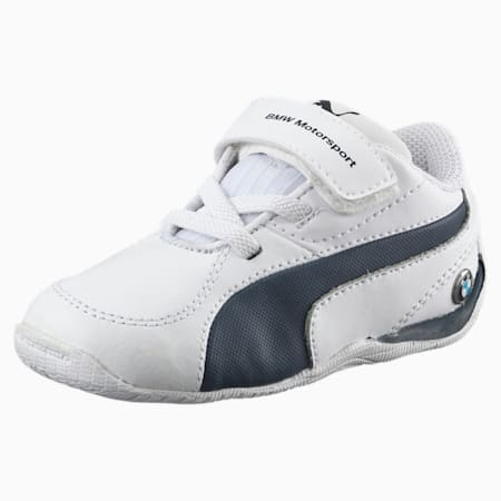 BMW Motorsport Drift Cat 5 Leather Babies' Trainers, Puma White-Team Blue, small