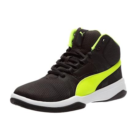 Rebound Street Evo Jr. Kids' High Tops, Puma Black-Safety Yellow, small-IND