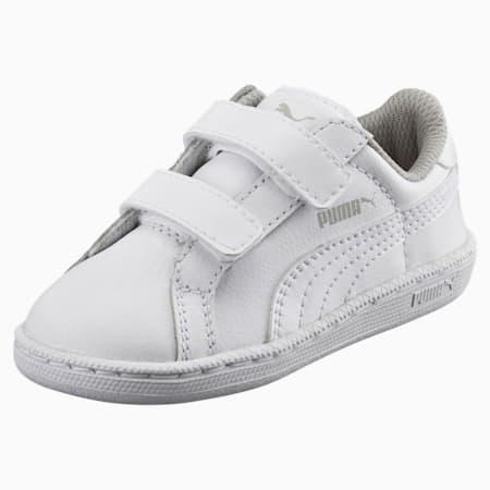 Scarpe da ginnastica in pelle da bambino Smash V PS, Puma White-Puma White, small