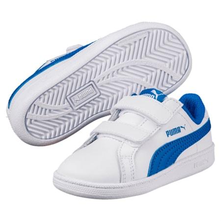 Scarpe da ginnastica in pelle da bambino Smash V PS, Puma White-Lapis Blue, small