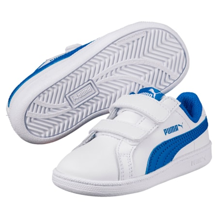 Zapatillas Smash Leather V PS para niños, Puma White-Lapis Blue, small