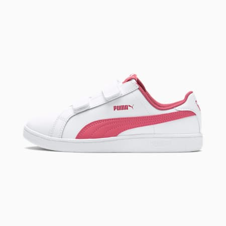 Smash Leather V PS Kids' Trainers, Puma White-Rapture Rose, small