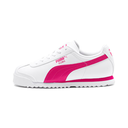Zapatos Roma Basic para niños, Puma White-Fuchsia Purple, pequeño