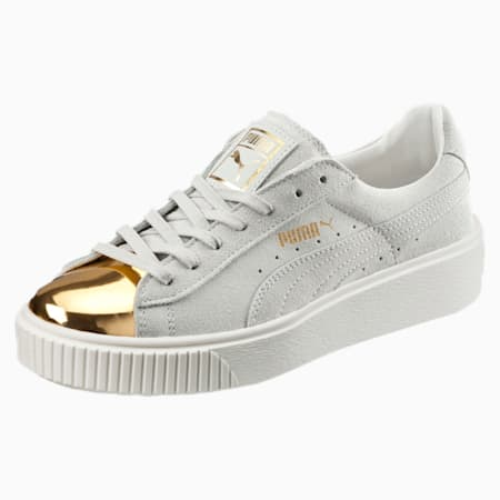 Suede Platform Gold Women's Sneakers, Gold-Star White-Puma White, small