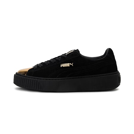Suede Platform GOLD Women's Shoes, Gold-Puma Black-Puma Black, small-IND
