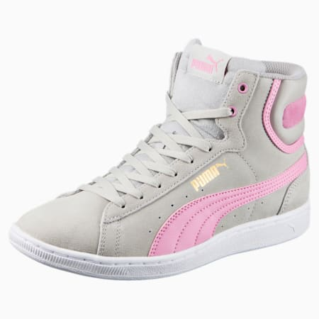 Vikky Mid Women's High Top Sneakers, Gray Violet-PRISM PINK, small