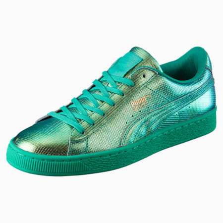 Basket Classic Holographic Men's Sneakers, Green Flash, small