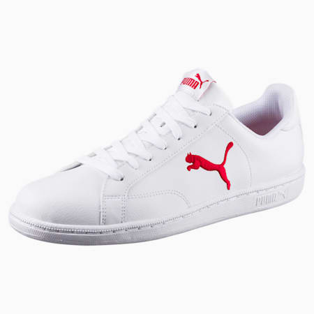 Smash Cat Leather Trainers, Puma White-Barbados Cherry, small-SEA