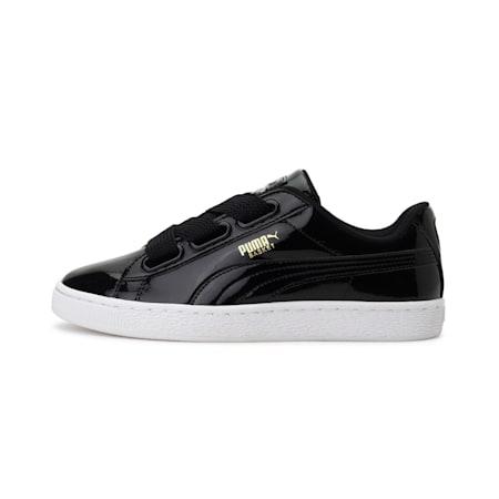 Basket Heart Patent Women's Sneakers, Puma Black-Puma Black, small