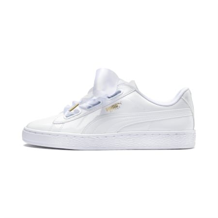 Basket Heart Patent Women's Sneakers, Puma White-Puma White, small