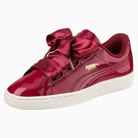Zapatos deportivos de charol Basket Heartpara mujer, Tibetan Red-Tibetan Red, pequeño