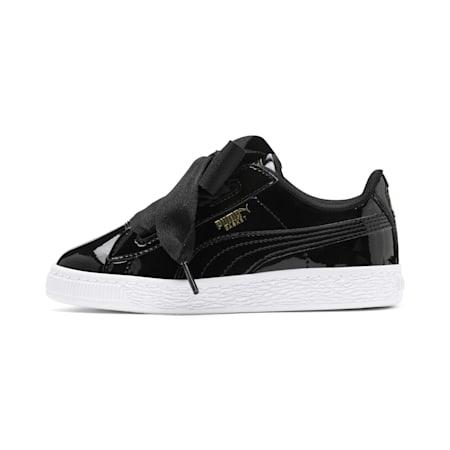 Basket Heart Patent Pre-School Girls' Shoes, Puma Black-Puma Black, small-IND