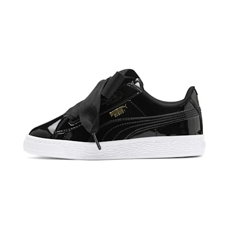 Basket Heart Patent Little Kids' Shoes, Puma Black-Puma Black, small