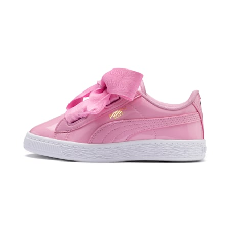 Basket Heart Patent Pre-School Girls' Trainers, PRISM PINK-PRISM PINK, small-SEA