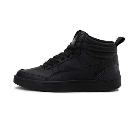 Rebound Street v2 Leather Kids' High Tops, Puma Black-Puma Black, small-IND