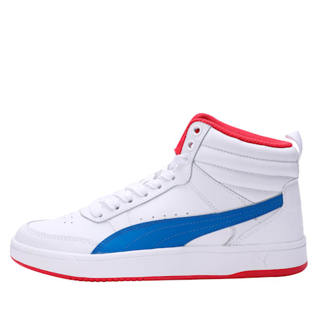 Rebound Street v2 Leather Kids' High Tops, White-Strng Blue-Rbbn Red, small-IND