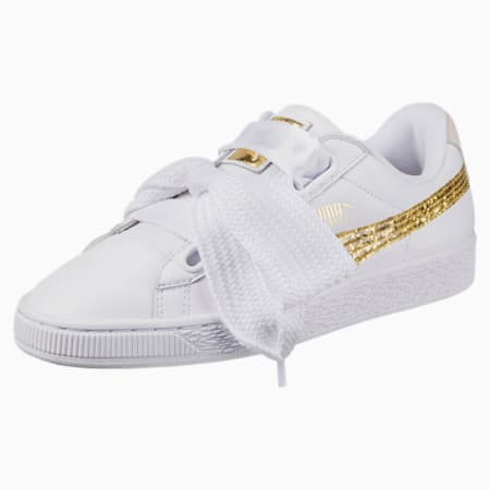 Basket Heart Glitter Women's Shoes, Puma White-Gold, small-IND