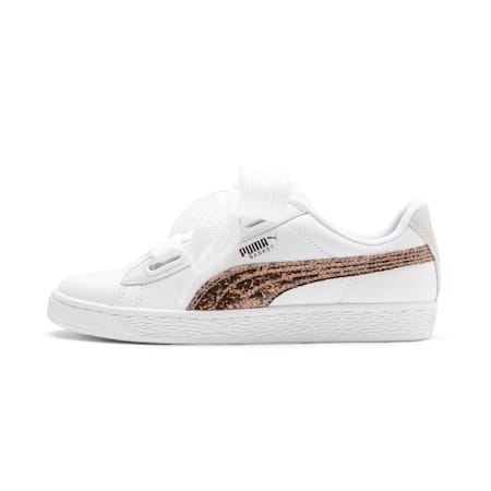 Basket Heart Glitter Women's Shoes, Puma White-Rose Gold-White, small-IND