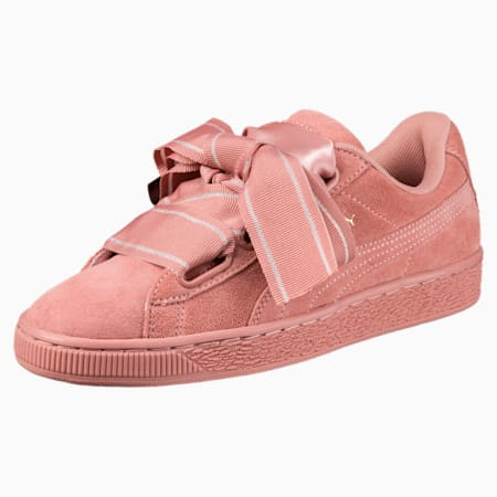 Suede Heart Satin II Women's Sneakers, Cameo Brown-Cameo Brown, small